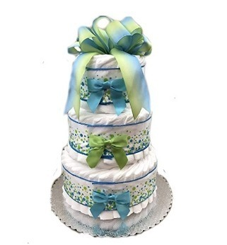 This is an image of boys classic pastel diaper cake in white and blue and green colors