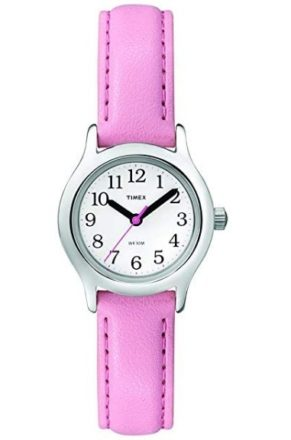 This is an image of girl's classic watch by Timer in pink color