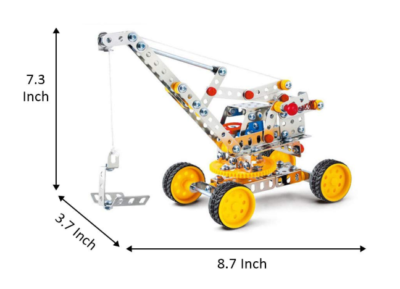 This is an image of a metal crane construction vehicle toy for kids.