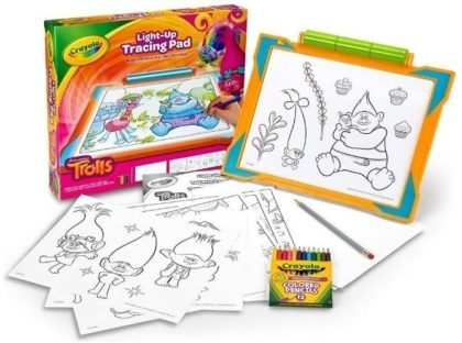 This is an image of girl's tracing pad with trolls design and coloring photos