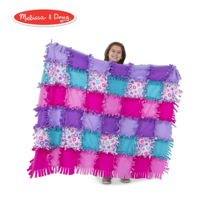 This is an image of a purple and pink fleec blanket for 6 year old kids.