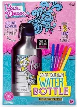 This is an image of girl's water bottle DIY coloring craft kit