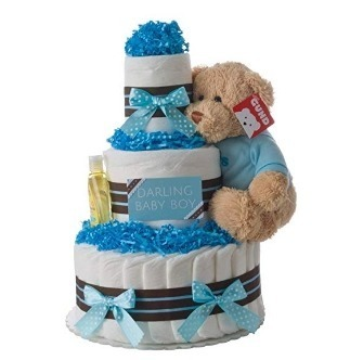 This is an image of boys diaper cake in blue color