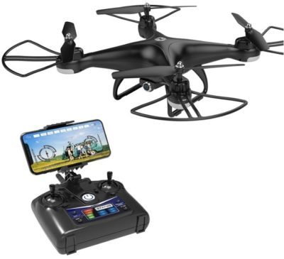 This is an image of kid's drone qudcopter with 720P HD camera in black color