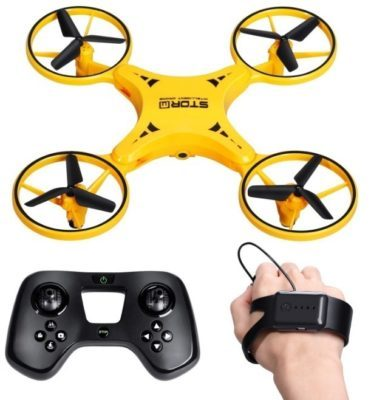 This is an image of kid's drone with smart watch gravity control in yellow colors