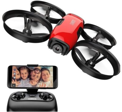This is an image of kid's drone with camera for kids in black and red colors