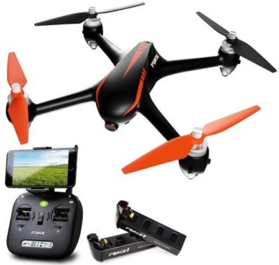 This is an image of kid's drones with camera and gps in black and orange colors