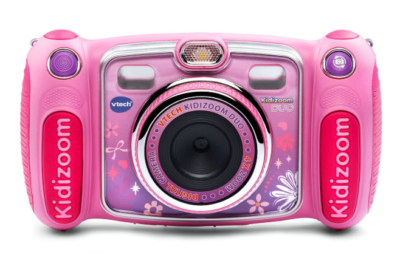 This is an image of a pink selfie digital camera for girls.