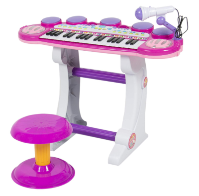 This is an image of a pink electronic kid's piano keyboard set.