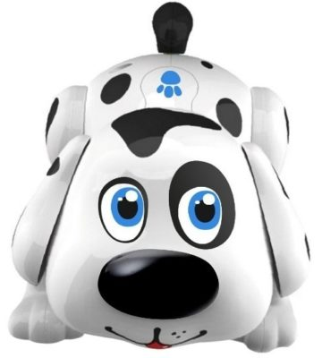 This is an image of boy's electronic pet dog in white and black colors