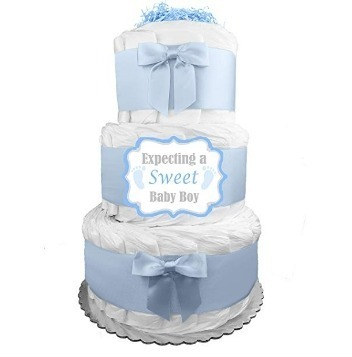 This is an image of boys tier 3 diaper cake in blue and white colors