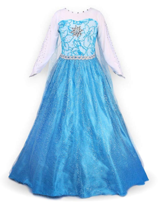 This is an image of a frozen character gown for little girls.