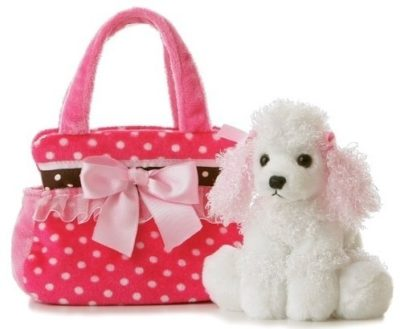 This is an image of girl's fancy pals with dog plush in white and pink colors
