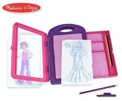 This is an image of girl's fashion design kit in pink and purple colors