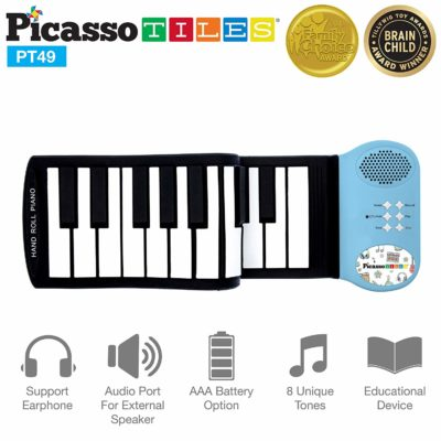 This is an image of a blue roll up toy piano for toddlers.