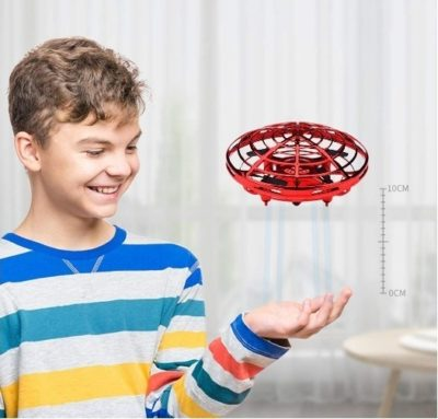 This is an image of boy's flying drone hand controlled in red color