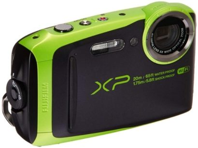 This is an image of teen's waterproof digital camera by fujifilm in black and green colors
