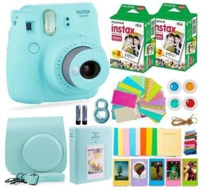 This is an image of teen's fujifilm instant camera set kit in blue color