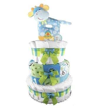 This is an image of boys giraffe diaper cake in blue and green colors