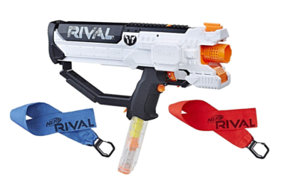 This is an image of a white Hera combat toy blaster.