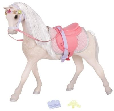 This is an image of girl's horse toy in pink color