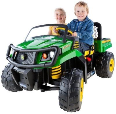 This is an image of kid's john deere ride on car gator in green and yellow colors