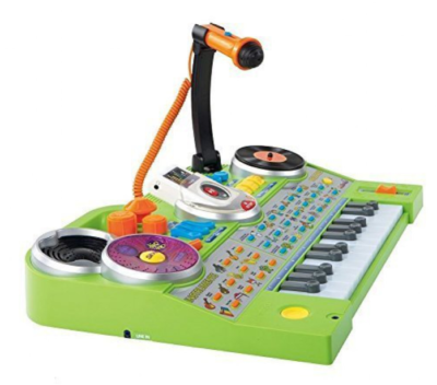 This is an image of a green music studio for kids.