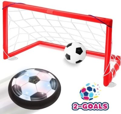 This is an image of boys hover soccer ball with led and 2 goals