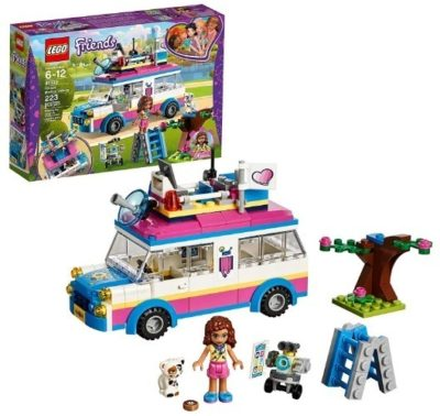 This is an image of girl's LEGO olivias mission vehicle version Friends building kit in multi colors