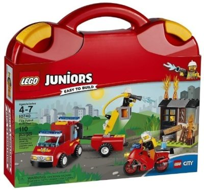This is an image of boys lego juniors fire patrol suitcase building kit