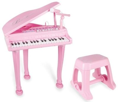 This is an image of girl's keyboard piano with microphone and bench in pink color