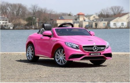 This is an image of girl's mercedes benz version S63 in pink colors