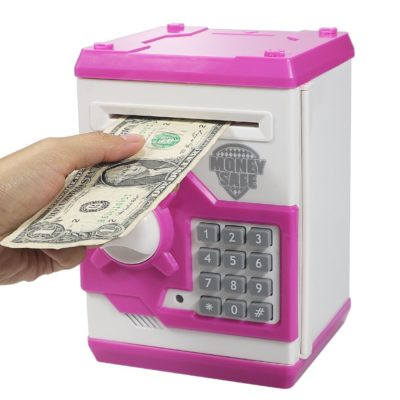 This is an image of a pink electronic ATM machine box for kids.