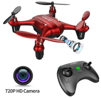 This is an image of kid's mini drone with 720P HD camera in red colors