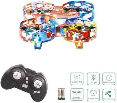 This is an image of kid's mini drones quadcopter with remote control in colorful colors