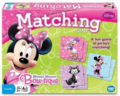 This is an image of girl's matching card game with minnie mouse design in colorful colors