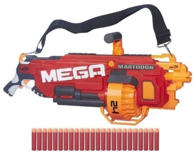 This is an image of boy's Nerf N strike mega mastodon gun in red and orange colors