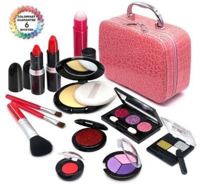 This is an image of girl's pretend makeup kit non-toxic