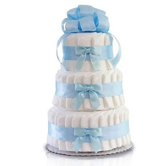 This is an image of boys pastel shower diaper cake