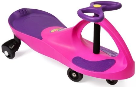 This is an image of girl's plasma car ride on in pink and purple colors