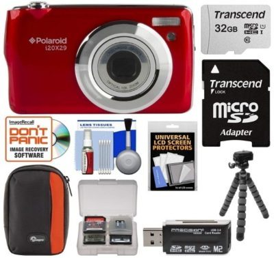 This is an image of Digital Camera with all accessories by polaroid in red color