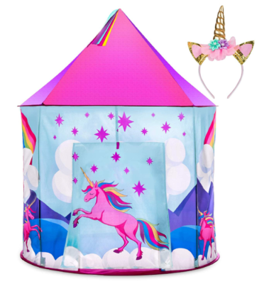 This is an image of a unicorn play tent with unicorn headband for girls.