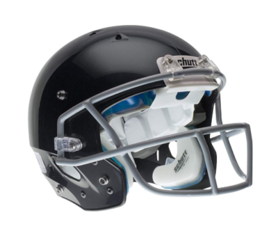 This is an image of a black Schutt youth helmet.