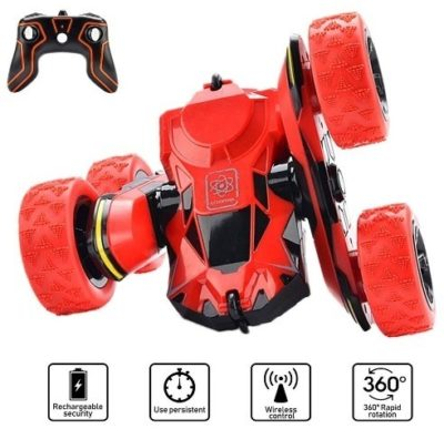This is an image of boys remote control stunt car in red color