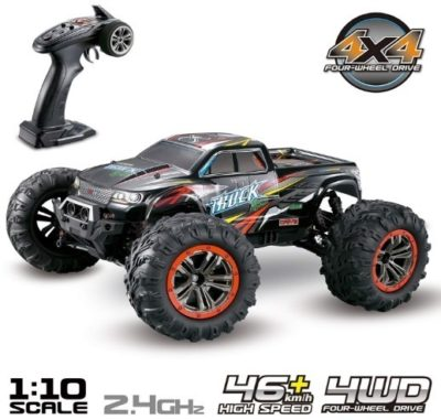 This is an image of boy's truck with remote control in black colors