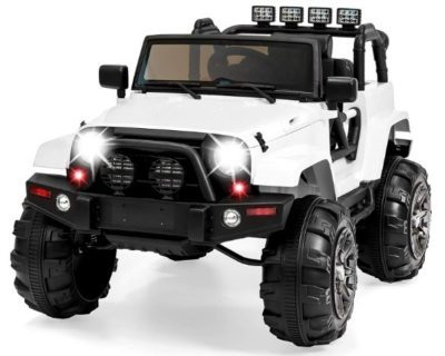 This is an image of girl's ride on truck with Remote Control in White color