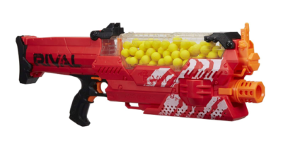 This is an image of a red rival toy blaster.