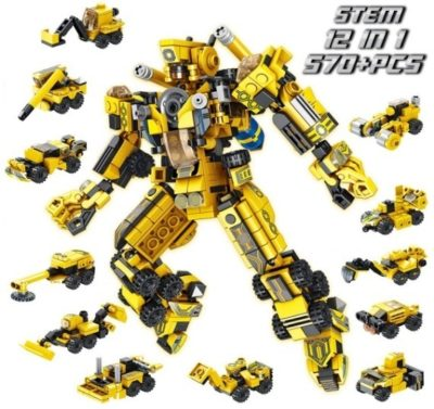 This is an image of boys robot STEM building blocks in yellow colors