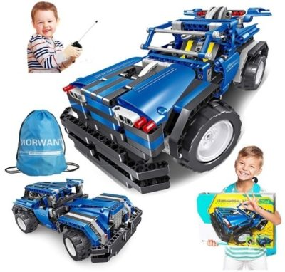 This is an image of boy's STEM building blocks car in blue color