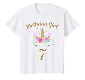 this is an image of a unicorn 7th birthday shirt